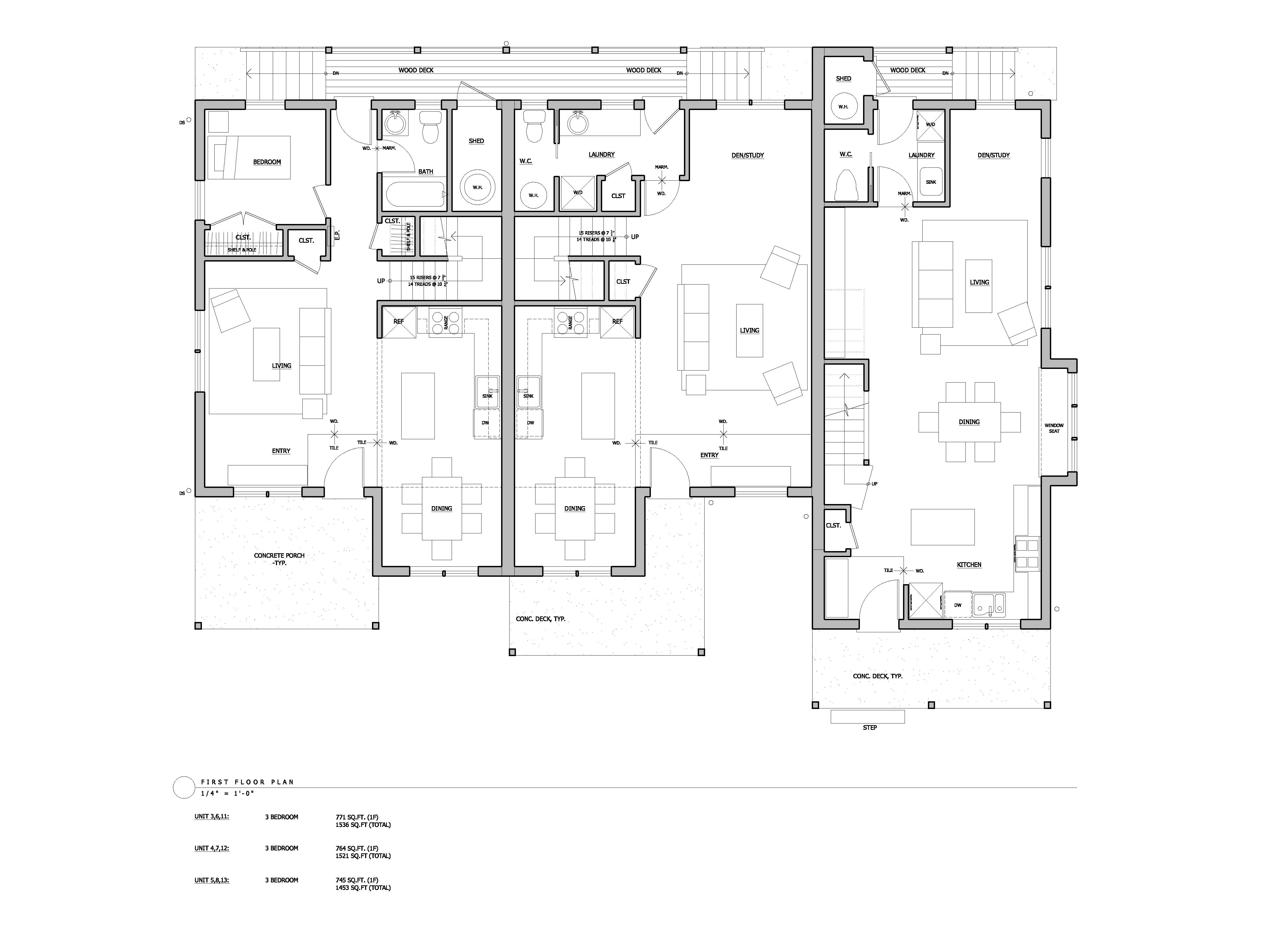 Floor plans and elevation drawings cully grove for Triplex floor plans